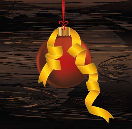 Merry Christmas red ball with yellow ribbon. Banner with copy space. Vector on wooden background. Greeting card For a holiday or a party.