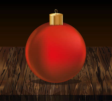 Merry Christmas red ball. Banner with copy space. Vector on wooden background. Greeting card For a holiday or a party. Illustration