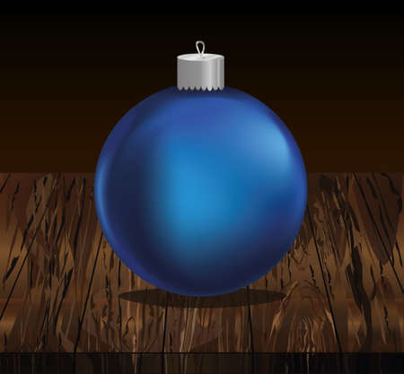 Merry Christmas blue ball. Banner with copy space. Vector on wooden background. Greeting card For a holiday or a party.