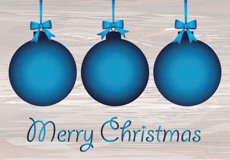 Merry Christmas blue balls with bow and  ribbon. Banner with copy space. Vector on wooden background. Greeting card For a holiday or a party.