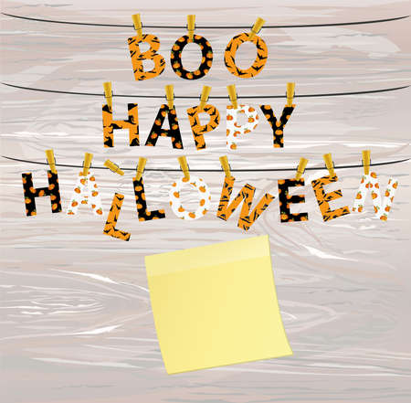 The letters and the inscription of a boo happy Halloween hang on clothespins on a rope or string. Vector on wooden back. Yellow sheet of paper for notes. Sticker. Festive garland.