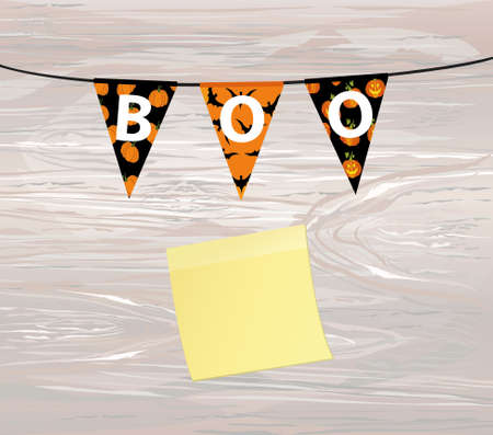 Carnival for holiday with flags of Garland. Festive pattern.  Letters Boo Happy Halloween. Vector on wooden background. Yellow sheet of paper for notes. Sticker. The concept of an invitation to a party.