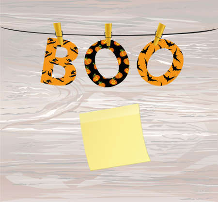 The letters and the inscription of a boo Halloween hang on clothespins on a rope or string. Vector on wooden back. Festive garland. Yellow sheet of paper for notes. Sticker. Greeting card.