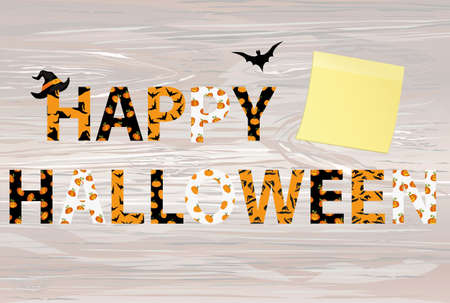 Happy Halloween lettering. Vector on wooden back. Words for invitations to a party or greeting card. Yellow sheet of paper for notes. Sticker. Witch hat pattern and a bat.