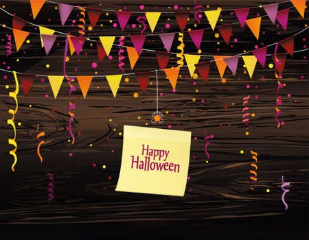 Halloween Carnival with flags Garlands. Vector on wooden background. Yellow sheet of paper for notes. Sticker. The concept of an invitation to a party in traditional colors. Illustration