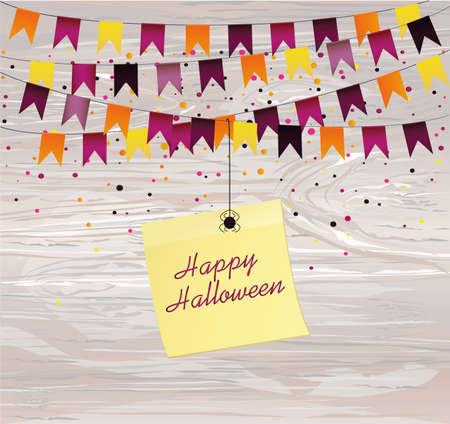 Halloween Carnival with flags Garlands. Vector on wooden background. Yellow sheet of paper for notes. Sticker.The concept of an invitation to a party in traditional colors. Illustration