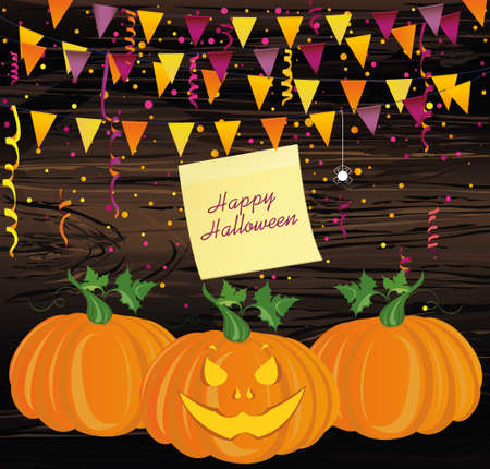 Halloween Carnival with flags Garlands. Vector. The concept of an invitation to a party in traditional colors. Illustration on wooden background.