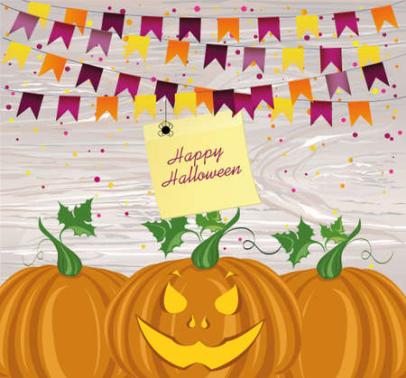 Halloween Carnival with flags Garlands and pumpkins. Vector. Yellow sheet of paper for notes. Sticker.The concept of an invitation to a party in traditional colors. Illustration on wooden background. Illustration
