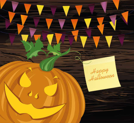 Halloween Carnival with flags Garlands. Vector.Yellow sheet of paper for notes. Sticker. The concept of an invitation to a party in traditional colors. Illustration on wooden background. Illustration