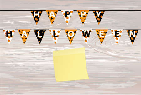 Carnival for Halloween with flags of Garland. Festive pattern. Vector on wooden background. Greeting card. Yellow sheet of paper for notes. Sticker. Empty space for text or advertising.