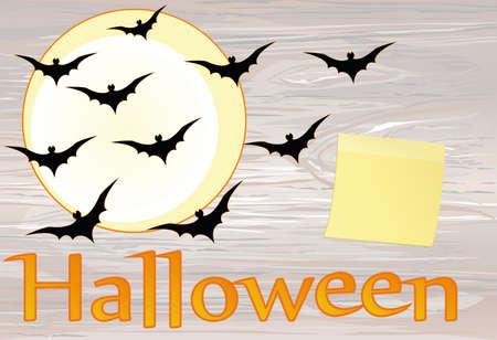 Halloween. Night with the moon and bats. Vector onwooden background. Yellow sheet of paper for notes. Sticker. The concept of an invitation to a party in traditional colors with a place for your text. Illustration