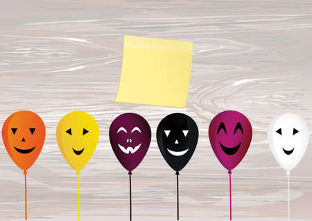 Halloween. Balloons with faces for a holiday. Multicolored inflatable balls. Complimentary ticket. Yellow sheet of paper for notes. Sticker. Free space for text or text. Vector on wooden background.