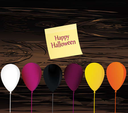 Halloween. Balloons for a holiday. Multicolored inflatable balls. Complimentary ticket. Yellow sheet of paper for notes. Sticker. Free space for text or text. Vector on wooden background.