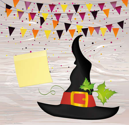 Halloween. Witch hat and garland of flags and confetti. Vector on wooden background. Yellow sheet of paper for notes. Sticker. Greeting card or invitation for a party and a party. Illustration