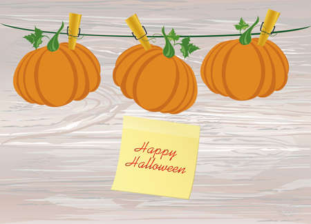 Halloween. Pumpkins are hanging on clothespins. Vector on wooden background. The holiday of October and Autumn. Yellow sheet of paper for notes. Sticker.