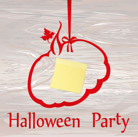 Halloween. Beautiful ribbon in shape pumpkins. Red bow. Greeting card or invitation for a holiday. Empty place for text or advertising. Vector on wooden background. Yellow sheet of paper for notes. Sticker. Illustration