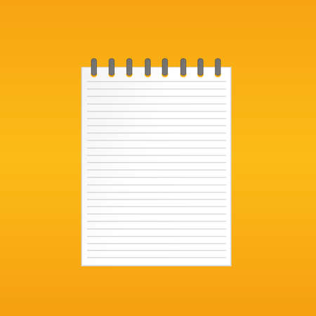 Template With Spiral Notebook On Yelllow Background Vector Diary