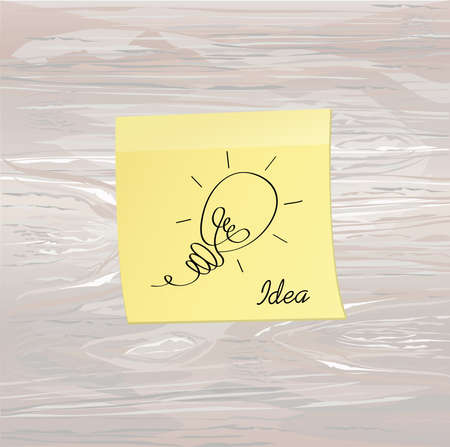 Hand-drawn lamp on yellow sticker and notepad. Vector on wooden background. Idea for business