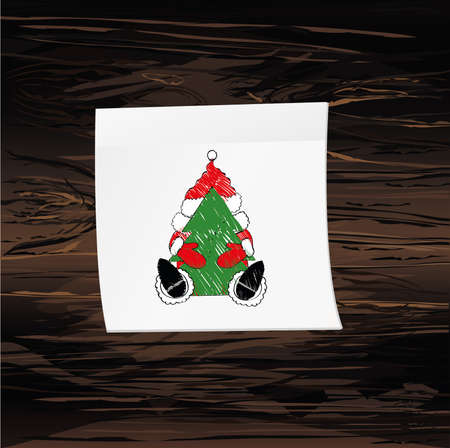 Hand-drawn christmas santa claus on yellow sticker and notepad. Vector on wooden background