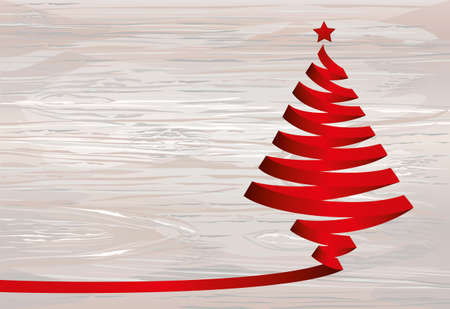 Christmas tree of red ribbon. Vector on wooden background. Greeting card for the holiday new year. Empty space for text or advertising Illustration
