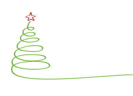 Christmas tree of green ribbon with red star. Vector. Greeting card for the holiday new year. Empty space for text or advertising
