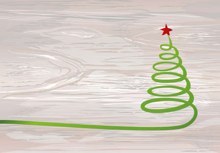 Christmas tree of green ribbon with red star. Vector on wooden background. Greeting card for the holiday new year. Empty space for text or advertising Illustration