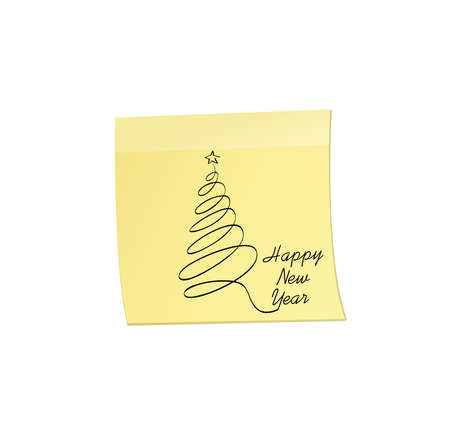 Hand-drawn christmas tree on yellow sticker and notepad. Vector