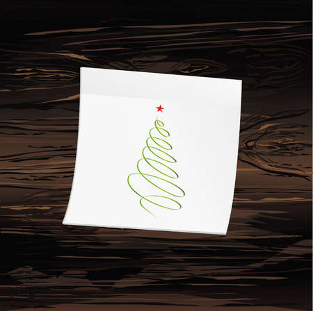 Hand-drawn christmas tree on yellow sticker and notepad. Vector on wooden background