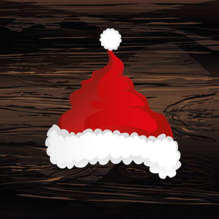 Merry Christmas, Santa Claus hat. Vector. Greeting card on wooden background