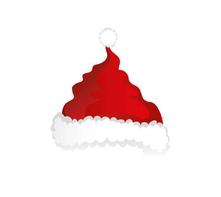 Merry Christmas, Santa Claus hat. Vector. Greeting card