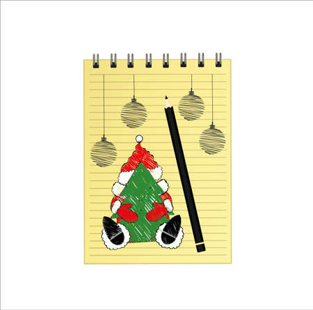 Notebook template with christmas santa clause and ball and pencil. Vector on white background. Greeting card on holiday. A realistic notepad. Office stationery. For notes