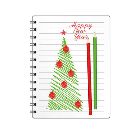 Realistic opened notebook template with christmas tree and ball and pencil. Vector on white background. Diary for business. Greeting card on holiday. A realistic notepad. Office stationery. For notes Illustration