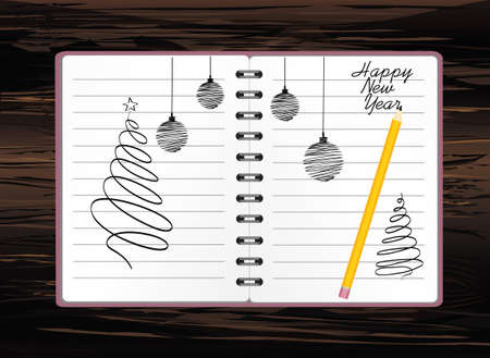 Realistic opened notebook template with christmas tree and ball and pencil. Vector on wooden background. Diary for business. Greeting card on holiday. A realistic notepad. Office stationery. For notes Illustration