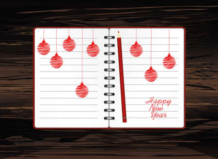 Realistic opened notebook template with christmas red balls and pencils. Vector on wooden. Diary for business. Greeting card on holiday. A realistic notepad. Office stationery. For notes Illustration