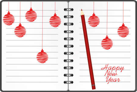 Realistic opened notebook template with christmas red balls and pencils. Vector on white background. Diary for business. Greeting card on holiday. A realistic notepad. Office stationery. For notes