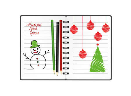 Notebook template with christmas snowman and ball and pencil. Vector on white background. Greeting card on holiday. A realistic notepad. Office stationery. For notes