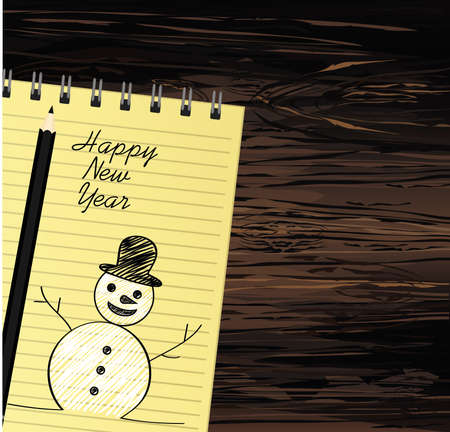 Notebook template with christmas snowman and ball and pencil. Vector on wooden background. Greeting card on holiday. A realistic notepad. Office stationery. For notes