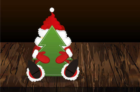 Santa Claus in a suit holding a Christmas tree. Vector on wooden background Illustration