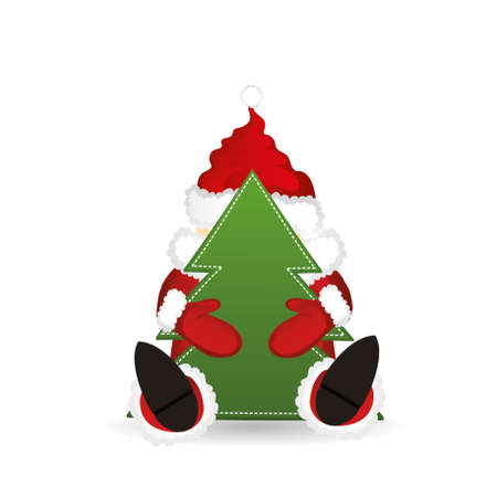Santa Claus in a suit holding a Christmas tree Illustration