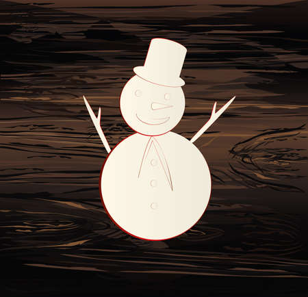 Christmas Snowman. Line drawing. Vector illustration on wooden background. New Year. Winter Illustration