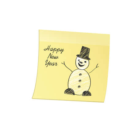 Hand-drawn christmas snowman on yellow sticker and notepad. Vector on white background