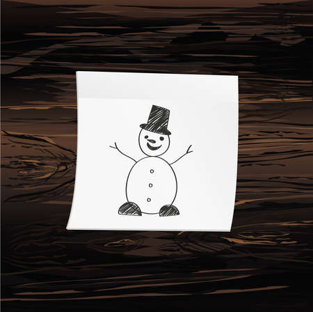 Hand-drawn christmas snowman on yellow sticker and notepad. Vector on wooden background