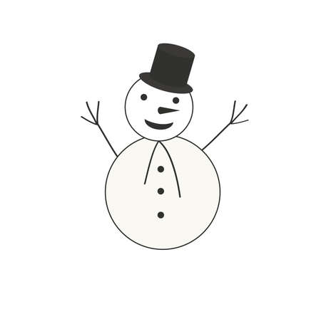 Christmas Snowman. Line drawing. Vector illustration on white background. New Year. Winter Illustration