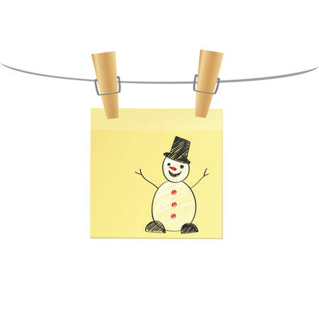 Hand-drawn christmas tree and santa claus and snowman on three yellow stickers. Greeting card. Vector with colorful pencils on wooden background