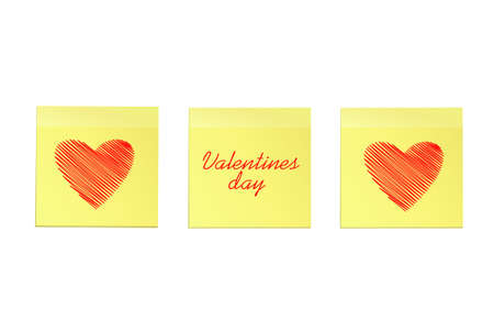 Hand-drawn Simple lines in the shape of a hearts red  on a stickers for Valentine's Day. Creative design concept. Vector illustration on white background.  Copy space for text. Ilustração