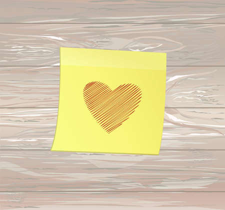 Simple lines in the shape of a heart red  on a yellow sticker for Valentine's Day. Creative design concept. Vector illustration on wooden background.  Copy space for text.