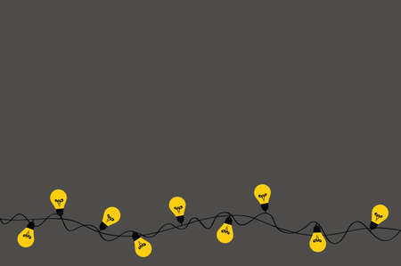 A set of warm light bulb garlands, holiday decorations. The lamps. Glowing Christmas lights. Vector on dark grey background. Illustration