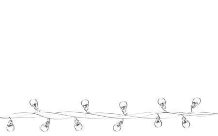 A set of warm light bulb garlands, holiday decorations. The lamps. Glowing Christmas lights. Vector on white background.
