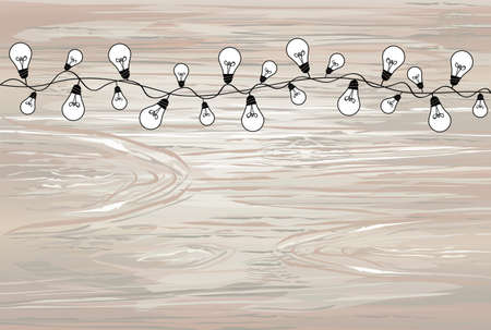 A set of warm light bulb garlands, holiday decorations. The lamps. Glowing Christmas lights. Vector on wooden background.