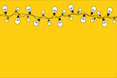 A set of warm light bulb garlands, holiday decorations. The lamps. Glowing Christmas lights. Vector on yellow background.